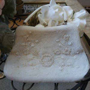 STUNNING White BEADED VINTAGE Handbag FLORAL